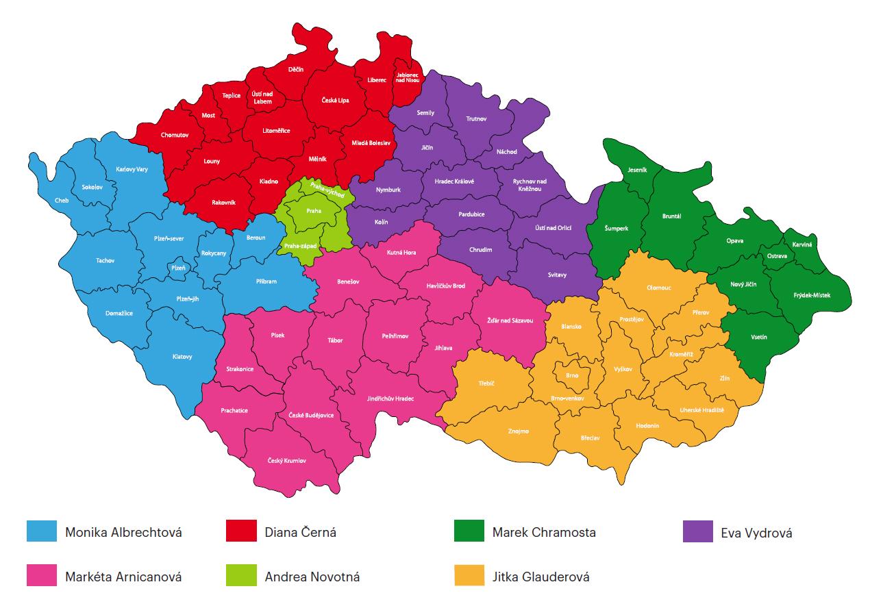 Mapa rozdělení obchodních zástupců - Fagron Česko